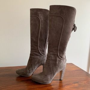 Joan & David Grey Suede Knee High Boots Size 7